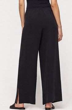 EILEEN FISHER BLACK CHIFFON WIDE LEG