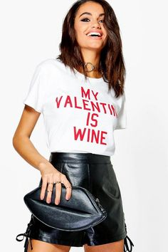 boohoo Amber My Valentine Is Wine Tee
