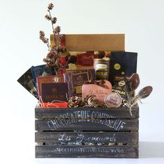 Vintage Inspired Crate Attractively Filled With Rich Coffee And An Abundance Of Chocolate Delights The Perfect Referral Or Client Gift