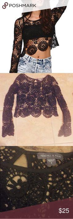 K&K crochet top Kendall and Kylie long sleeve top. Never worn.. NWOT Beautifully BoHo chic Kendall & Kylie Tops Tees - Long Sleeve