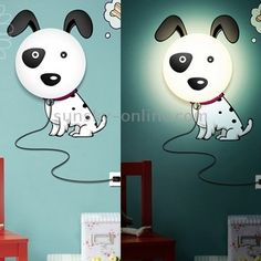 1) Dog style creative wall lamp.  2) It includes a lampshade and wall stickers which make 3D effect.  3) It is ideal for children's room because it makes soft and subdued light which won't interfere your child's sleep.  5) Installing this lamp won't be difficult. You only should fix lampshade, then wall stickers and fix the wire with pin.  6) You can choose one and together with your son or daughter and it will give a unique look to your child's room.