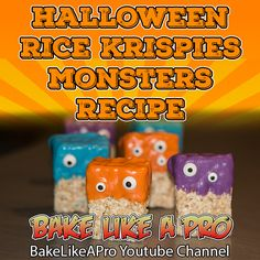 Halloween Rice Krispies Monsters Recipe You will need: ► Rice Krispies squares ► Candy melts ► Candy eyeballs You can make the Rice Krispies squares yourself. Halloween Goodies, Halloween Treats, Halloween Recipe, Fall Recipes, My Recipes, Halloween Rice Krispies, Halloween Backen, Monster Treats, Candy Eyeballs