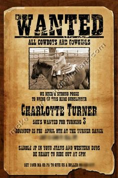 Free Printable Wanted Poster Invitations | ... Invitations » Kids Birthday Invitations » western invitations