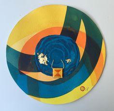 Mandala in watercolour and gold leaf with tibetan talismã