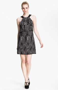 Cut25 Feather & Dot Print Ruffled Shift Dress available at #Nordstrom Great summer dress. exceptional quality