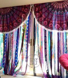 Items similar to Gypsy Curtains Boho Curtain Hippie Room-Dorm Decor Glamping Sequin Mandala Tapestry Rag Garland Backdrop Festival Tent Vanlife on Etsy Rag Curtains, Hippie Curtains, Tapestry Curtains, Valance, Bedroom Curtains, Bedroom Decor, Bedroom Rustic, Beaded Curtains, Shower Curtains