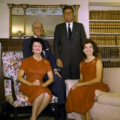 President elect John F Kennedy with his parents Joseph Sr and Rose Kennedy and Jackie, November 1960 posing after narrowly winning the US election