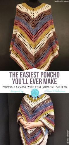Best Photo Crochet poncho patterns Tips The Easiest Poncho You'll Ever Make Free Crochet Pattern – Free Crochet Patterns Crochet Pattern Free, Crochet Gratis, Crochet Motifs, Knitting Patterns Free, Crochet Stitches, Sewing Patterns, Crochet Patterns, Free Knitting, Scarf Patterns
