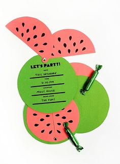 Is there anything better than a big slice of watermelon on a hot summer day? I didn't think so. If you're having a bbq this summer than these easy to assemble watermelon invitations are the perfect th
