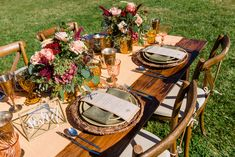 Olive Vintage Linen Napkins with Papaya Dupioni Wide Runner over a beautiful rustic wood table at Wedding Tours of Yolo County