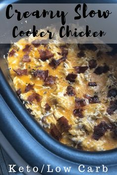 Make our Slow Cooker Cheesy Chicken Recipe with Bacon as a perfect family-friendly recipe that takes little effort but creates big taste! A perfect Crockpot meal for kids and adults. This cheesy chicken and bacon recipe is perfect for keto diet plans. Crock Pot Recipes, Keto Crockpot Recipes, Bacon Recipes, Slow Cooker Recipes, Low Carb Recipes, Diet Recipes, Bariatric Recipes, Crockpot Meals, Vegan Recipes