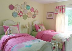 I love the idea of putting pieces of fabric that match your room's theme in sewing hoops and hanging them on the wall as decoration. Would love to try this both in my room and sewing room.