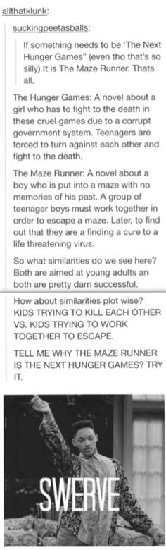 IT IS NOT THE NEXT HUNGER GAMES. IT IS IN NO WAY LIKE THE HUNGER GAMES AT ALL. DYLAN EVEN SAID SO IN AN INTERVIEW
