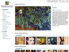 http://www.cosasdearquitectos.com/2012/04/wikipaintings-la-enciclopedia-gratuita-de-la-pintura/  WikiPaintings almacena datos de multitud de obras y artistas, permitindo al usuario consultar los datos por artistas, género, movimiento artístico, técnica pictórica empreada, nacionalidad, fecha y varias categorías mas, mostrándonos el resultado de la búsqueda con imágenes de las obras disponibles en varios tamaños.