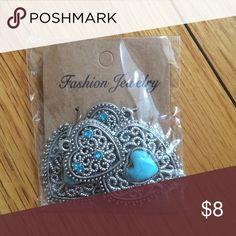 PRICE⬇️Turquoise silver double heart earrings Gorgeous turquoise statement earrings. Never worn. Jewelry Earrings