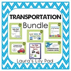 """The transportation theme is used every year in my classroom.  This bundle currently contains:An emergent reader called """"We Go!"""" that can be read together, colored, and taken home to read with family.A set of stamping pages for your stamping center.  These pages include stamp and write or just stamp pages, both in color and grayscale.A land, air, and water sort with real photo images of thirty six transportation vehicles as well as three mats.A q-tip or cotton swab fine motor activity center…"""