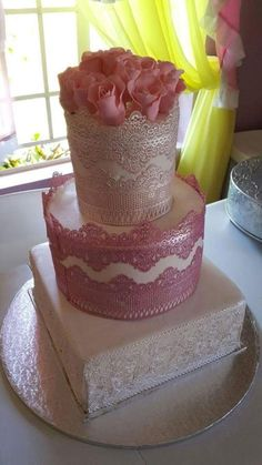 my latest lacy wedding cake  by shimery - http://cakesdecor.com/cakes/288911-my-latest-lacy-wedding-cake