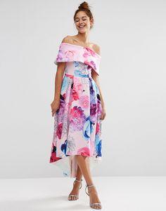 Vestito lungo asimmetrico stile Bardot con spalle scoperte e stampa floreale