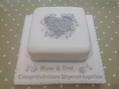- Special Design and Decor for Special Diamond Wedding Anniversary Cakes- Do you think that wedding ceremony is the most precious moment? Having a diamond wedding anniversary will be more precious. Diamond Wedding Anniversary Cake, Diamond Wedding Cakes, Golden Anniversary Cake, 25th Wedding Anniversary Cakes, Diamond Cake, Bling Wedding Cakes, Anniversary Ideas, Anniversary Parties, Wedding Cookies