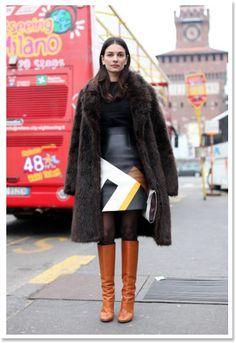 Leila Yavari printed leather skirt andò knee high boots style //  by Giia (Tonics)
