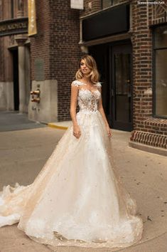 Mila Nova Bridal Wedding Dress Collection - A-line wedding gown with floral top and illusion details Unusual Wedding Dresses, Pink Wedding Dresses, Bohemian Wedding Dresses, Lace Wedding Dress, Wedding Dress Styles, Wedding Wear, Designer Wedding Dresses, Wedding Gowns, Wedding Bells