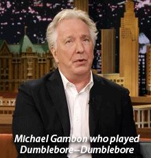 Alan Rickman on the Jimmy Fallon show ... this is when Alan goofed Dumbledore's name.