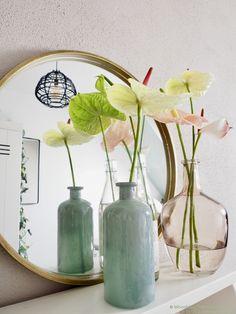 Table Arrangements, Home Decor Inspiration, Fresh Flowers, Flower Decorations, Flower Power, Planting Flowers, Glass Vase, Centerpieces, Bouquet