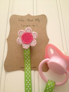 Pink & White Flower - Felt Pacifier Clip - Handmade Baby Accessories by Wee and Me. $9.00, via Etsy.