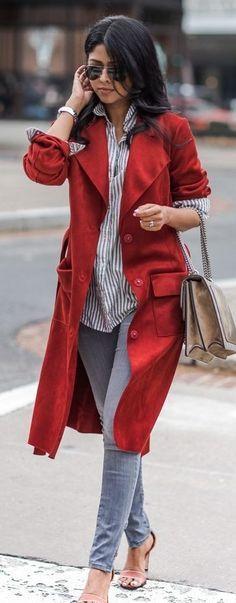 #spring #fashionistas #outfit #ideas   Red suedette trench + stripe shirt + denim   Walk in Wonderland