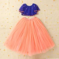 Hopscotch | Buy Crop Top With Cape And Peach Lehenga Skirt on Hopscotch.in in India
