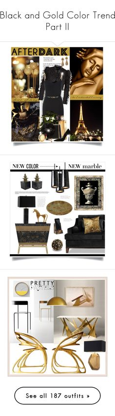 """""""Black and Gold Color Trend Part II"""" by yours-styling-best-friend ❤ liked on Polyvore featuring Dolce&Gabbana, MICHAEL Michael Kors, Guerlain, Lanvin, Harry Winston, Estée Lauder, Gucci, Dsquared2, interior and interiors"""