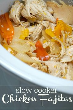 Here's an easy crockpot chicken fajitas recipe your whole family will love!! Our favorite slow cooker recipe that's cheap and healthy…