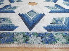 Christmas Tree Skirt Blue Poinsettia 192 by QuiltinWaYnE on Etsy