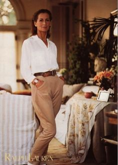 Ralph Lauren Spring campaign, mid 1980s  stunning but the blouse would be even better in 'oyster ' white.
