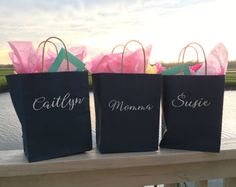 Set of 4 Custom Gift Bags with Names or Monograms! Personalized Giftbags! Perfect for Bridesmaids to fill w favors gifts belongings weddings