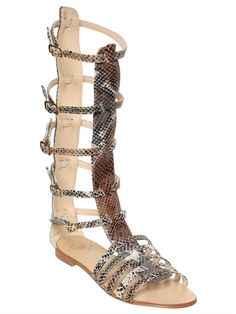 7291ef7227a Emanuela Caruso 10mm Printed Leather Gladiator Sandals