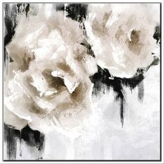 "JBass Grand Gallery Collection 'White Roses' Framed Print on Canvas Size: 55.75"" H x 35.75"" W x 1.5"" D"