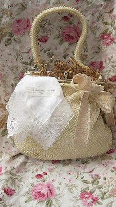 Vintage Beaded Purse w/ Hankie~via Isabella's Roses