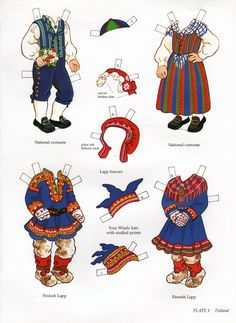 Kansallispukuja, paperinuket - book - libro - scandinavian girl and boy - paper doll - finland Art Origami, Reindeer Craft, Thinking Day, Vintage Paper Dolls, Paper Toys, Handmade Toys, Norway, Coloring Pages, Scandinavian