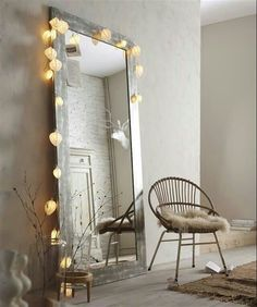 These fairy lights bedroom ideas are great to add to a standing mirror in your bedroom. These fairy lights bedroom ideas are perfect to add warmth to your flat in an affordable way. Check out the different string lights to add to your space. Home Bedroom, Bedroom Decor, Bedroom Ideas, Bedroom Rustic, Bedroom Designs, Bedroom Wall, Big Mirror In Bedroom, Bedroom Mirrors, Narrow Bedroom
