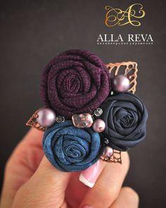 """Купить Брошь  """"Grapes"""" - комбинированный, брошь, брошь цветок, цветы из ткани, текстиль, текстильная брошь"""