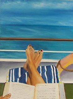Reading Art, Woman Reading, Seascape Paintings, Book Reader, Summer Art, I Love Books, Beach Art, Book Worms, Book Lovers