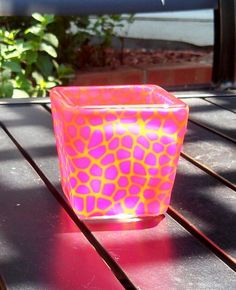 Hot pink and golden yellow animal-print patterned votive, polymer clay over glass