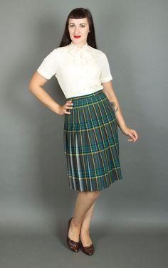 Vintage 60s Plaid Wool Pleated Skirt 1960s by BirthdayLifeVintage
