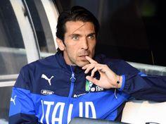 Gianluigi Buffon of Italy looks on prior to the International...