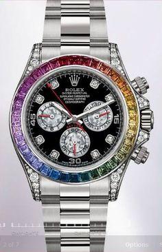 2012 Rainbow Diamond Rolex Daytona - never going to happen, but a girl can dream! Rolex Daytona, Rolex Cosmograph Daytona, Rolex Submariner, Daytona Watch, Rolex Gmt, Dream Watches, Luxury Watches, Cool Watches, Watches For Men