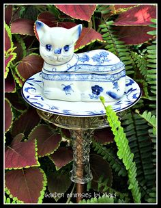 Blue and White Cat Garden Totem Stake  / by GardenWhimsiesByMary, $30.00