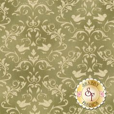 Welcome Home Collection One 8365-G by Jennifer Bosworth for Maywood Studio Fabrics: Welcome Home Collection One is a beautiful collection by Jennifer Bosworth for Shabby Fabrics manufactured by Maywood Studio Fabrics. This fabric features scrolls and doves on a sage green background.