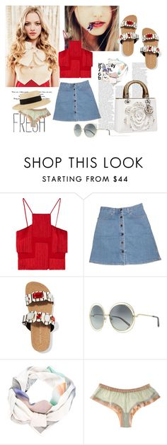 """""""Playa y calle."""" by nataal ❤ liked on Polyvore featuring Prada, Versace, STELLA McCARTNEY, Sophia Webster, Christian Dior, Chloé, Anntian, La Fée Verte and Eugenia Kim"""