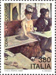 """1987 - Problemi del nostro tempo - Lotta contro l'alcolismo - particolare del quadro l' """"Absinthe"""" di Edgar Degas"""
